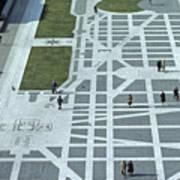 Tourists Walking Along Freedom Plaza Art Print