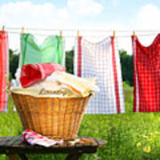 Towels Drying On The Clothesline Art Print