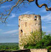 Tower At Chateau De Chinon Art Print