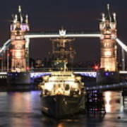 Tower Bridge And Hms Belfast Art Print