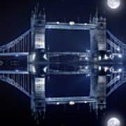 Tower Bridge In London By Night  Art Print