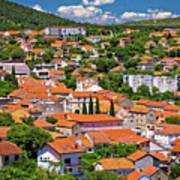Town Of Drnis And Dalmatian Inland Panorama Art Print