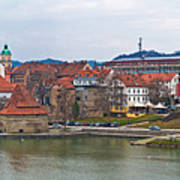 Town Of Maribor Riverfront Panoramic  Art Print