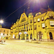 Town Of Ptuj Historic Main Square Evening View Art Print