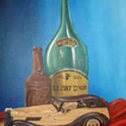 Toy Car And Bottles Art Print