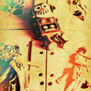 Toy Robots On Vintage Cassettes Art Print