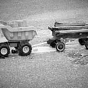 Toy Truck In Black And White Art Print