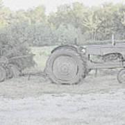 Tractor   Pencil Drawing Art Print
