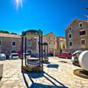 Traditional Dalmatian Town Of Tisno Square Art Print