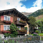 Traditional Swiss Alps Houses In Vals Village Alpine Switzerland Art Print