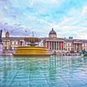 Trafalgar Square Fountain London 8 Art Print