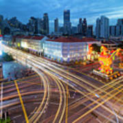 Traffic Light Trails In Singapore Chinatown Art Print