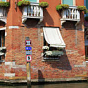 Traffic Signs On The Canal In Venice Italy Art Print