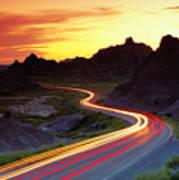 Traffice On Highway, Sunset (long Exposure) Art Print