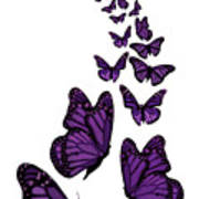 Trail Of The Purple Butterflies Transparent Background Art Print