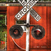 Train - Yard - Railroad Crossing Art Print by Mike Savad