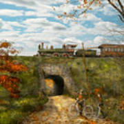 Train - Arlington Nj - Enjoying The Autumn Day - 1890 Art Print