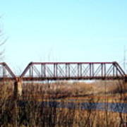 Train Bridge Over Red River From Texas To Oklahoma Art Print