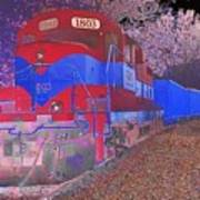 Train On Railroad Tracks - Abstract In Blue And Red Art Print