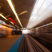 Train Station In Motion Art Print