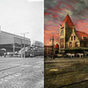 Train Station - Ny Central Railroad Depot 1905 - Side By Side Art Print