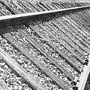 Train Tracks Triangular In Black And White Art Print