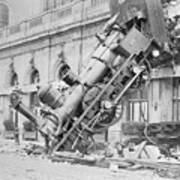 Train Wreck At Montparnasse Station Art Print