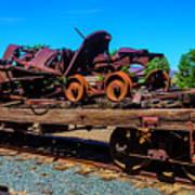 Train Wreckage On Flat Car Art Print
