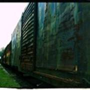 Trains 12 Cross Process Border Art Print