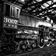 Trains 3007 C B Q Steam Engine Bw Art Print