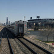 Trains Passing The Home Of The Chicago White Sox Art Print