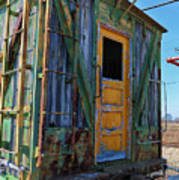 Trains Wooden Box Car Yellow Door Art Print