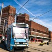 Tram In Front Of Oslo City Hall Art Print
