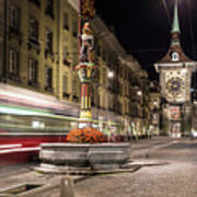 Tram Rushes In The Street Of Bern Art Print