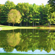 Tranquil Landscape At A Lake 2 Art Print