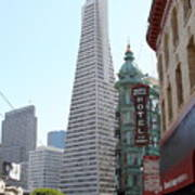 Transamerica Pyramid Through North Beach San Francisco . 7434 Print by Wingsdomain Art and Photography