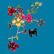 Transparent Flowers And Butterflies In Color Art Print