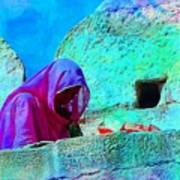 Travel Exotic Woman On Ramparts Mehrangarh Fort India Rajasthan 1e Art Print