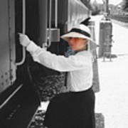 Traveling By Train - Black And White Focal Art Print