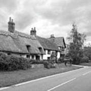 Travellers Delight - English Country Road Black And White Art Print