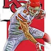 Travis Kelce Kansas City Chiefs Oil Art Art Print