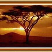 Tree At Sunset. L B With Decorative Ornate Printed Frame. Art Print