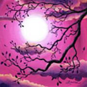 Tree Branch In Pink Moonlight Art Print