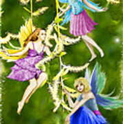Tree Fairies On The Weeping Willow Art Print