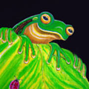 Tree Frog On A Leaf With Lady Bug Art Print by Nick Gustafson