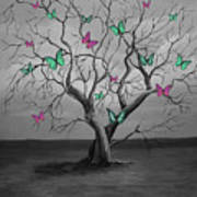 Tree Of Butterflies  Art Print