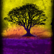 Tree Of Life - Yellow Sunburst Sky Art Print by Robert R Splashy Art