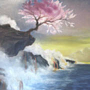 Tree On Cliff Art Print