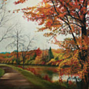 Trees Along The Canal Art Print