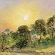 Trees On Hampstead Heath At Sunset Art Print